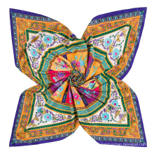 New arrival Chinese silk square scarf with round circle and flowers chain pattern digital print scarf